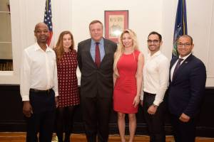 L to R: Bryan Cooper, Melinda Crump, Pete Holmber, Andrea Catsimatidis, Anthony Arias, Daby Carreras